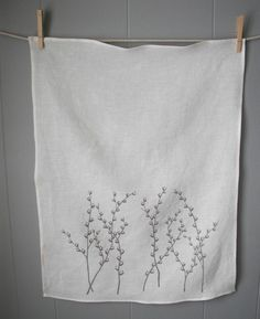 Organic Linen Tea Towels, by madderroot, on Etsy - embroider similar design on purchased towels