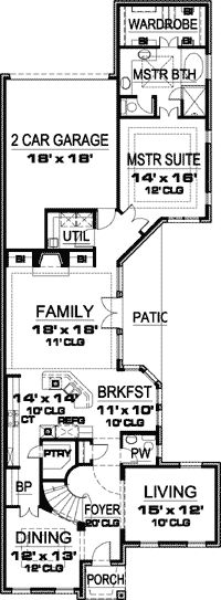 Plan 85091ms for an uphill skinny lot narrow lot house Skinny block house designs