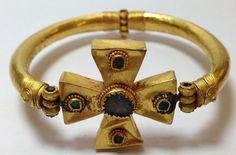 Byzantine style hollow gold Cross bracelet , before 13th century