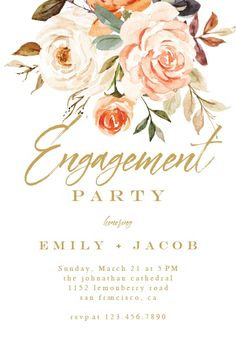 Rustic Roses - Engagement Party Invitation #invitations #printable #diy #template #Engagement #party #wedding Housewarming Invitation Templates, Free Baby Shower Invitations, Baby Shower Invitaciones, Wedding Prep, Party Wedding, Engagement Party Invitations, Bridal Shower Rustic, Roses, Island