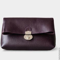 """Купить сумка """"Venice S"""" - тёмно-фиолетовый, клатч, клатч из натуральной кожи, кожаный клатч"""
