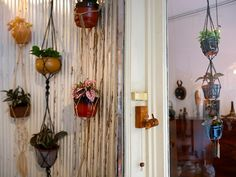 Hanging pots of plants. Nice decoration idea!