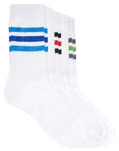 Image 1 ofASOS 5 Pack Sports-Style Socks With Stripe