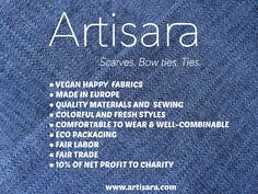 ARTISARA - scarves, bow ties and ties made of happy vegan fabrics and more...www.artisara.com