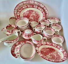 "Antiquité 1940 Porcelaine ""Colonial"" Woods Burslem. Angleterre L Le Croissant, Tout Rose, Vintage Dishes, Oeuvre D'art, Cutlery, Colonial, Dinnerware, Candle Holders, Textiles"