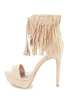 CherryMad Qupid Avalon-55 Beige Suede Lace Up Fringe Cuff Stiletto Platform Heel ^^ Hurry! Check out this great product : Lace up sandals