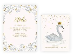 This hand illustrated swan invitation comes as a set of two! including both a main invitation as well as a smaller rsvp card. Send me your text