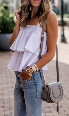 Paired a breezy, cotton tiered tank with light wash denim and white pumps for a classic look. Teen Girl Outfits, Mom Outfits, Casual Outfits, Cute Outfits, Casual Wear, White Ruffle Dress, White Maxi Dresses, Look Fashion, Fashion Outfits