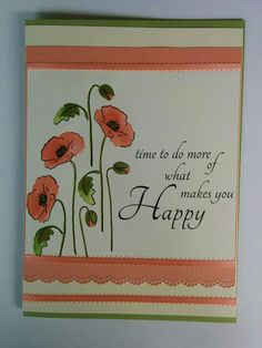 Could be a leaving card. Large size card. Altenew Painted Poppy stamp set on water colour paper, stampin up inks, computer generated sentiment, Martha Stewart edge punch and ribbon trim. #Altenew #leaving