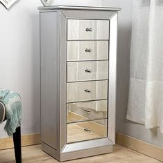 Hayworth Mirrored Silver Jewelry Armoire Armoires Star and Bedrooms
