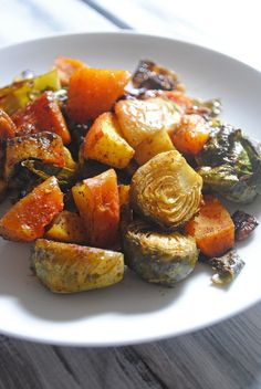 Maple Curry Roasted Brussels Sprouts, Butternut Squash and Apples ...
