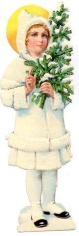 Girl,white coat holding Tree