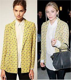 Nov 2011 // Elizabeth Olsen wears ASOS Suitcase Print Blazer (http://asos.to/OlsenBlazerASOS)