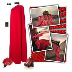 """""""Chinese Red"""" by conniw-1 ❤ liked on Polyvore featuring Valentino, Balmain and Charlotte Olympia"""