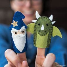 Learn how to make finger puppets with this introductory sewing project! Create a fairy tale with princess, knight, unicorn, wizard, and dragon characters! Crafts How to Make Finger Puppets for Your Fairy Tale Castle (part Felt Puppets, Felt Finger Puppets, Sewing Projects For Kids, Sewing Crafts, Crafts For Kids, Felt Projects, Craft Projects, Sewing Toys, Craft Ideas