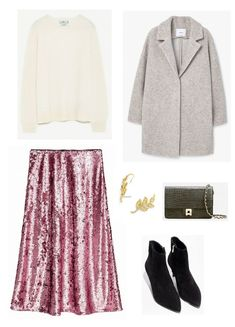 Time for Fashion » Style Consultancy. White sweater+pink sequinned midi skirt+black sock ankle boots+grey wool coat+khaki chain shoulder bag+gold earrings. Winter Evening Going Out Outfit 2017