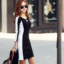 Long Sleeved Shift Dress - Contrasting Black and White Pattern / Super Slimming Appearance Latest Fashion Clothes, Fashion Outfits, Women's Fashion, Fashion Design, Cute Clothes For Women, Color Negra, Korean Fashion, Cute Outfits, Skirt