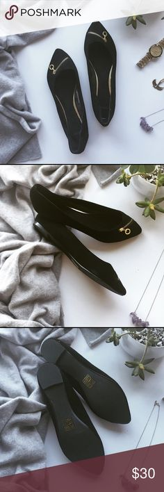 ASOS Gold Zipper Suede Flats Chic & Comfy these flats are upgraded with the addition of a gold zipper across the toes.  Pointed toes and suede are the perfect touches to elevate these flats.  Perfect to wear with any fall outfit! ▪️Bundle & Save! ▪️ ASOS Shoes Flats & Loafers