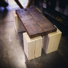 "Meet the Mini Timber Coffee Table that measures 24""x42"". We made a larger version similar to this before, but we thought it would be neat to make one that would fit into a smaller space. Your thoughts?"