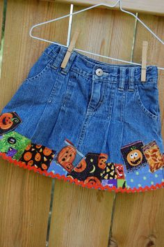 Upcycled jean skirt for Halloween / Fall / Autumn  by GCcloset, $11.99