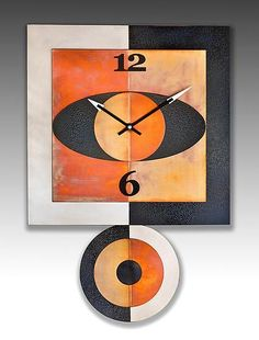 Simi Square Pendulum Clock by Leonie Lacouette (Metal Clock) Unique Clocks, Cool Clocks, Traditional Clocks, Pendulum Clock, Retro Clock, Diy Clock, Clock Decor, Modern Clock, Copper Art