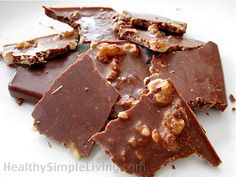 Cocoa + Coconut Oil + Nuts + Sweetener of Choice = Chocolate Bark | This can also be used, without the nuts, as a chocolate coating. | I use Stevia for ZERO CARBS!