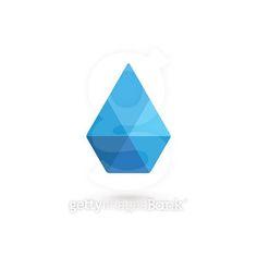 Water drop symbol crystal design template icon