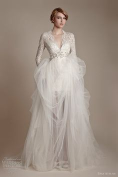 ersa atelier 2013 long sleeve lace tulle wedding dress  love the off white