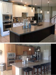 Refinishing your kitchen island in a dark bold color is a great way to make a statement! Feeding My Soul, LLC ~https://www.facebook.com/feedingmysoul/~ used GF Java Gel Stain to create a contrasting island in this made over kitchen! Use GF Snow White or Antique White Milk Paint for a similar look. Learn more about how to use GF Gel Stain in this video - https://www.youtube.com/watch?v=OgX5yE5rUbo