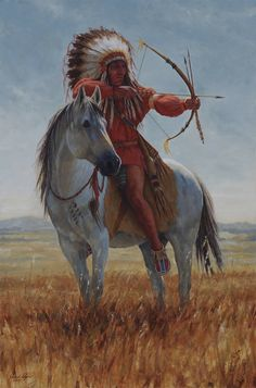 Western American Indian Warrior Paintings | Available Paintings Taking Aim – James Ayers Studios