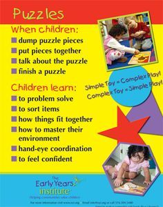 The Early Years Institute shares what children learn while playing with puzzles! Learning Stories, Play Based Learning, Learning Through Play, Early Learning, Kids Learning, Kindergarten, Preschool Classroom, Preschool Activities, Early Education