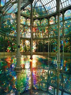 Kimsooja's Room of Rainbows in Crystal Palace Buen Retiro Park, Madrid Spain Fed onto Top See Places in Madrid Album in Travel Category Crystal Palace Madrid, Earthship, Beautiful Architecture, Gothic Architecture, Ancient Architecture, Mosque Architecture, Beautiful Buildings, Architecture Design, Oh The Places You'll Go