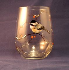 Chickadee Stemless Wine Glass Hand Painted by SilviasBrush on Etsy, $22.00