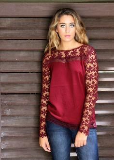 Crotchet sleeve garnet blouse
