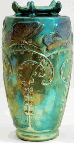 oravake:  Zsolnay Eosin Art Nouveau Vase 'Butterflies on Stems'.