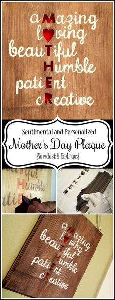 Make a personal and sentimental wooden plaque for Mother's Day using words that describe YOUR mother. Simple and meaningful! {Reality Daydream}