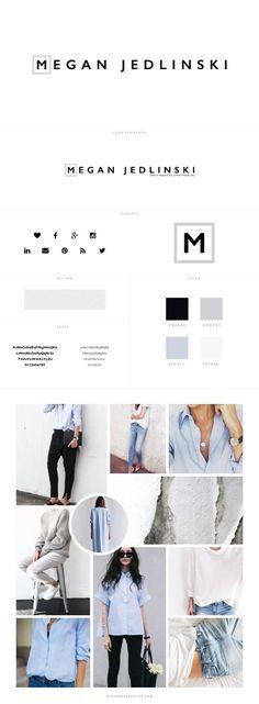 Custom Branding for Megan Jedlinski, style blog logo design, blog design, header, custom logo, minimal logo, light blue, grey, style blog header
