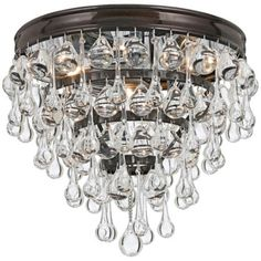 "Crystorama Calypso Bronze 10"" Wide Crystal Ceiling Light - over kitchen sink"