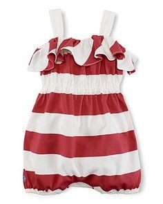Ralph Lauren Childrenswear Infant Girls  Stripe Romper - Sizes 9-24 Months   79ec0e2b392