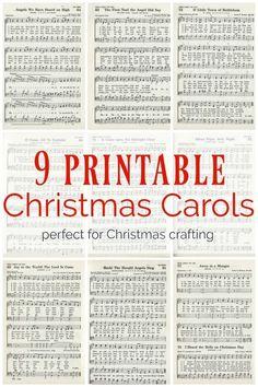 9 printable Christmas carols for making christmas music ornaments and other Christmas crafts #christmascrafts