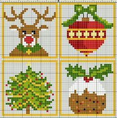 Figuras de navidad en punto de cruz