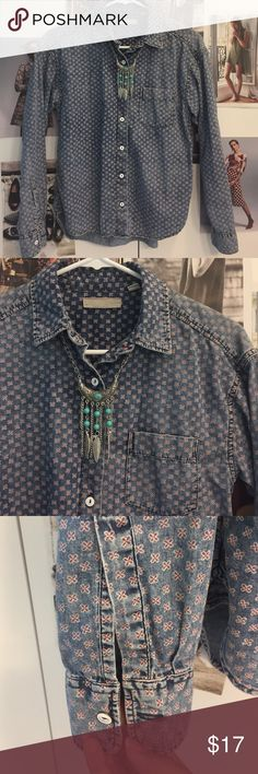 Unique Vintage print denim shirt XS Faded print look with white painted buttons. Warm and ready to go chic look. Very soft and comfy. no brand Tops Button Down Shirts