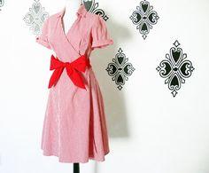 Vintage 80s does 50s Red Gingham Plaid Wrap Dress - PopFizzVintage