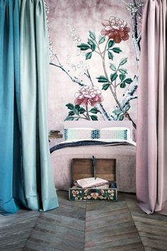 wallpaper, flowers, girl´s room, rosa