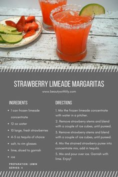 Strawberry Limeade Margaritas // Fast & Easy Margarita Recipe | http://beautywithlily.com