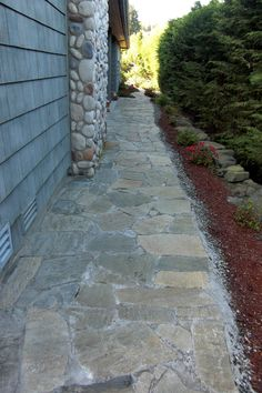 flagstone patio with retaining wall yard pinterest flagstone