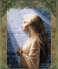Galadriel by Sandrine Gestin Fantasy World, Fantasy Art, New Age, Illustration Fantasy, Mary Magdalene, My Heritage, Divine Feminine, Gods And Goddesses, Illustrations