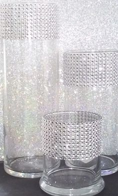 Glass Cylinder Vase Set With Faux Rhinestone By IsaiahPaulEvents Cylinder  Centerpieces, Bling Centerpiece, Floral