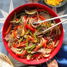Mexican Steak Fajitas Steak Fajita Recipe, Beef Steak Recipes, Beef Casserole Recipes, Steak Fajitas, Beef Recipes For Dinner, Meat Recipes, Mexican Food Recipes, Cooking Recipes, Yummy Recipes