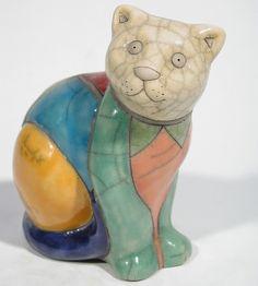 KRUGER chat assis couleur - Céramique Raku Les chats statues et décoration céramique d art - Paris France